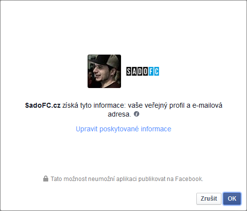 Nápověda - povolení facebook aplikace